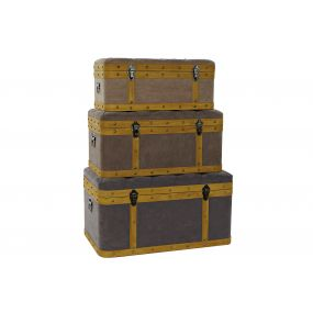 TRUNK SET 3 WOOD VELVET 80X50X42 LIGHT BROWN
