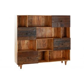 SHELVING RECICLED WOOD ACACIA 160X42X152,5 AGED