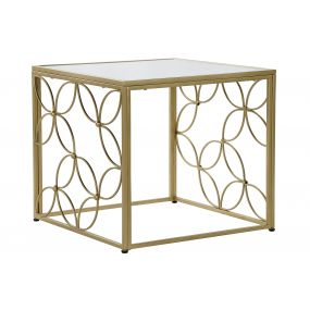 AUXILIARY TABLE METAL MIRROR 57X57X52 FLOWER