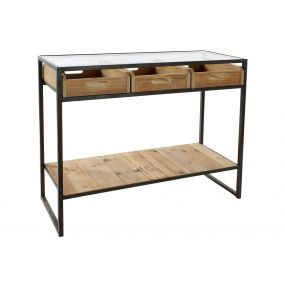 CONSOLE TABLE METAL GLASS 100X38X80 NATURAL BLACK