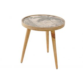 AUXILIARY TABLE WOOD BAMBOO 48,5X48,5X51 PALM TREE