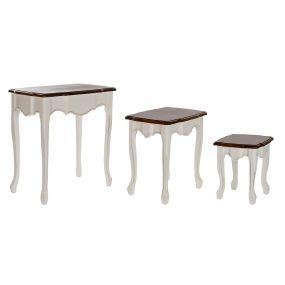 AUXILIARY TABLE SET 3 PAULOWNIA 60X40X66 WHITE