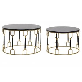AUXILIARY TABLE SET 2 METAL MARBLE 67X67X42 BLACK