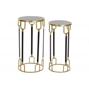 AUXILIARY TABLE SET 2 METAL MARBLE 33X33X65 BLACK