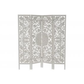 FOLDING SCREEN MDF 153X2,5X171 FLORAL WHITE