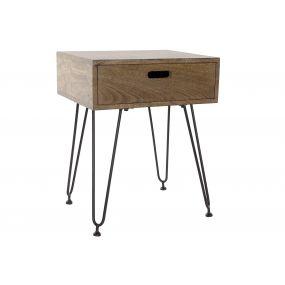 BEDSIDE TABLE MANGO METAL 48,5X40,5X61 BROWN