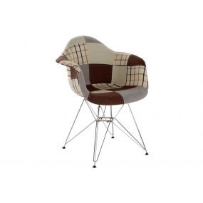 CHAIR POLYESTER METAL 63X61X82 46CM PATCHWORK GREY