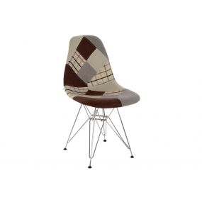 CHAIR POLYESTER METAL 47X49X83 47CM PATCHWORK GREY