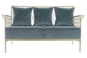 COUCH METAL POLYESTER 135X70X79 BLUE