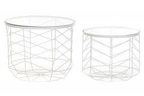 AUXILIARY TABLE SET 2 METAL GLASS 49X49X40 WHITE