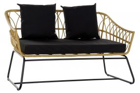 COUCH SYNTHETIC RATTAN METAL 132X58X80 NATURAL