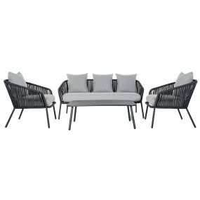 COUCH SET 4 ALUMINIUM POLYESTER 151,5X72X70 BLACK
