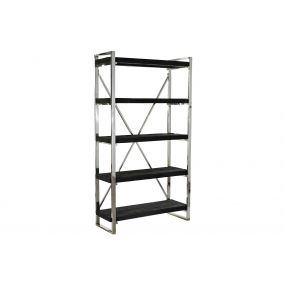 SHELVING RECICLED WOOD STEEL 100X38X180 AGED BLACK