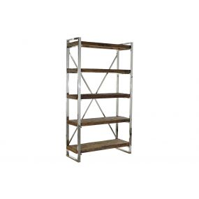 SHELVING RECICLED WOOD STEEL 100X38X180 AGED BROWN