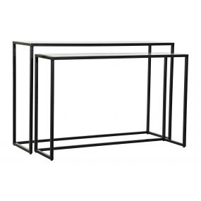 CONSOLE TABLE SET 2 METAL MARBLE 125X35X80 BLACK