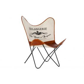 CHAIR METAL 71X76X84 BUTTERFLY BROWN
