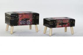 BOX SET 2 WOOD PU 60X36X40 VINTAGE