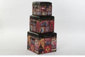 BOX SET 3 WOOD PU 46X46X42 VINTAGE