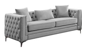 COUCH POLYESTER METAL 210X88X76 3PLAZAS LIGHT GRAY