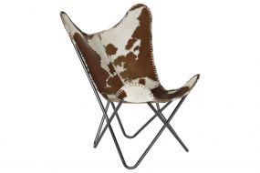 ARMCHAIR LEATHER IRON 70X70X90 COW BROWN