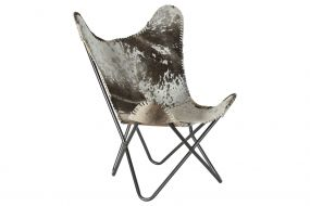 ARMCHAIR LEATHER IRON 70X70X90 COW GREY