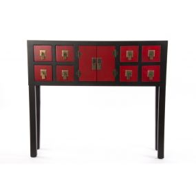 CONSOLE TABLE MDF MDF 90X24X78 8 DRAWERS BLACK