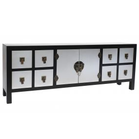 TV CABINET MDF SOLID WOOD 130X24X51 JAPANESE BLACK
