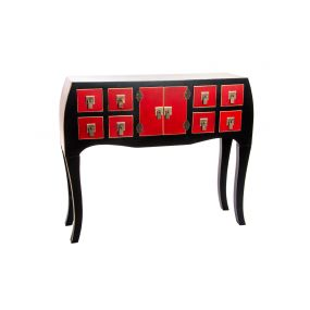 CONSOLE TABLE WOOD MDF 98X26X80 8 DRAWERS BLACK