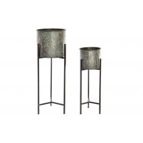 FLOWERPOT STAND SET 2 METAL 28X28X70 LEAVES AGED