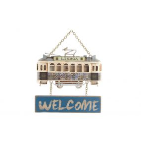 WALL DECORATION METAL MDF 19X16X2 TROLLEY CAR