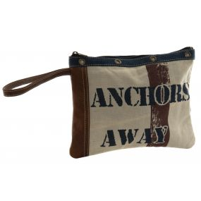 TOILET BAG/ KIT CANVAS LEATHER 28X2X22 ANCHORS