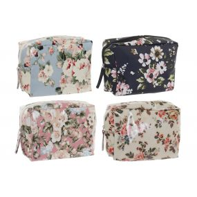 TOILET BAG/ KIT CANVAS PVC 15X6X12 FLOWERS 4 MOD.