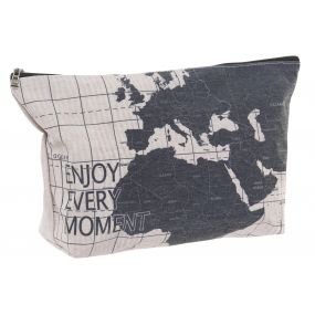TOILET BAG/ KIT POLYESTER 30X2X18 WORLD MAP BLACK