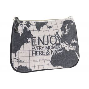 TOILET BAG/ KIT POLYESTER 20X1X15 WORLD MAP BLACK