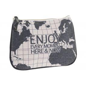 TOILET BAG/ KIT POLYESTER 20X1X15 WORLD MAP BLACK