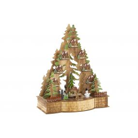 HOUSE LED WOOD 30X15X37 TREE NATURAL