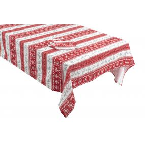 TABLECLOTH COTTON 150X250 8 NAPKINS RED