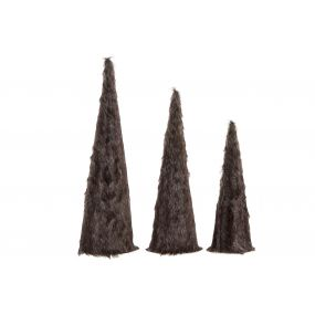 CONE SET 3 FLANNEL 17X17X60 HAIR BROWN