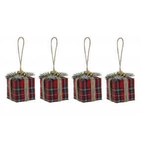 DECORATION BALL SET 4 POLYESTER 5X5X5 PRESENT RED