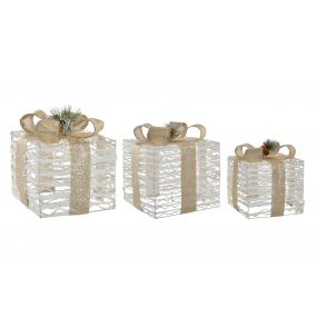 PRESENT/GIFT SET 3 LED RATTAN 25X25X25 GOLDEN BOW