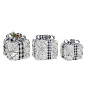 PRESENT/GIFT SET 3 LED RATTAN 25X25X25 CHECKED BOW