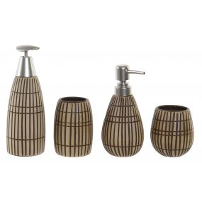 BATHROOM SET 2 STONEWARE ABS 8X8X18 GRATED 2 MOD.