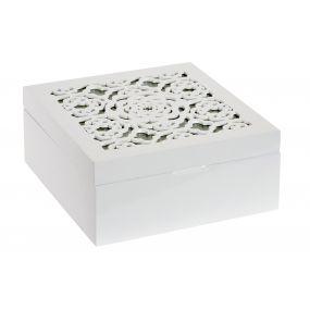 TEA BOX MDF GLASS 18X18X8 LACQUERED WHITE