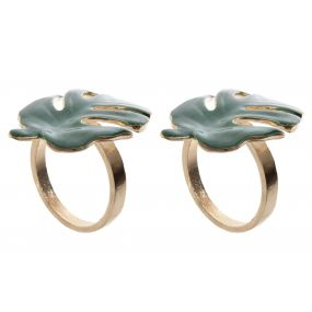 SERVIETTE RING SET 2 METAL 5X3,5X4 SHEET GREEN