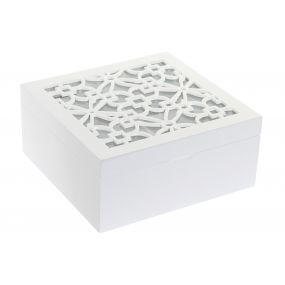 TEA BOX MDF GLASS 18X18X8 TILE LACQUERED WHITE