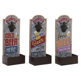 BOTTLE OPENER METAL MDF 15X9X36,4 BEER 3 MOD.