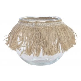 CANDLE HOLDER GLASS ROPE 13X13X12 HAWAII