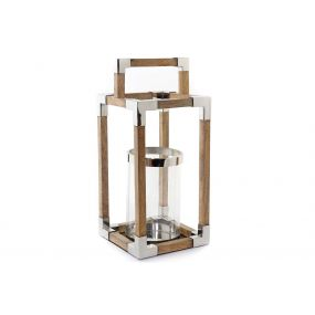 CANDLE HOLDER STEEL GLASS 23X23X50,5 CHROMED
