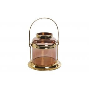 CANDLE HOLDER STEEL GLASS 22X21 GOLDEN