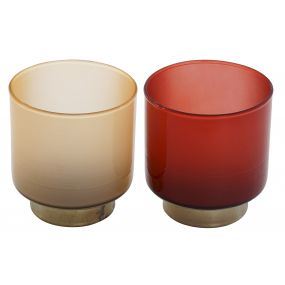 CANDLE HOLDER GLASS 8X8X8.5 GOLDEN 2 MOD.